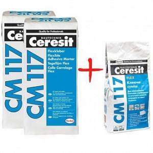 Клей для плитки Ceresit СМ-117 2 мешка 25 кг + 1 мешок 5 кг в подарок