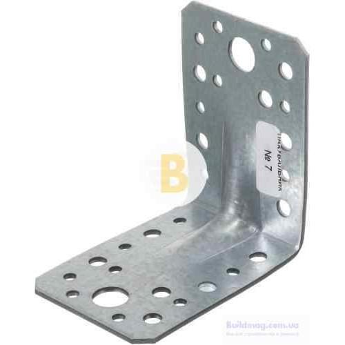 Металлический крепежный уголок наличие ребер жесткости 90x90x65мм 2,5мм