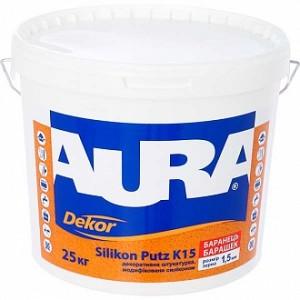 Декоративная штукатурка барашек Aura Dekor Silikon Putz К15 1,5 мм 25 кг