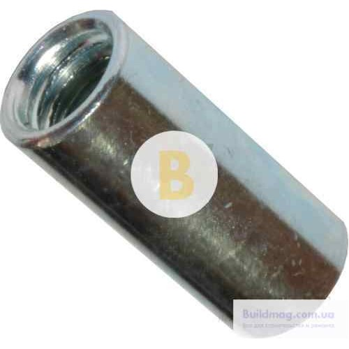 Гайка соединительная оцинкованная сталь М6 4 шт 5,8