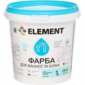 Краска Element для ванной комнаты и кухни белый 1л