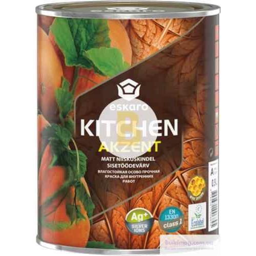 Краска акриловая Eskaro Akzent Kitchen шелковистый мат белый 0.9л