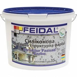 Рельефная краска силиконовая Feidal Struktur Fassad Farbе мат белый 10л