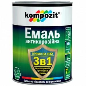 Эмаль Kompozit антикоррозийная 3 в 1 черный шелковистый мат 0,75кг