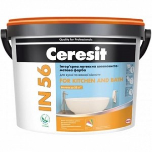 Краска Ceresit IN 56 For Kitchen and Bath База А белый 5л 7,25кг