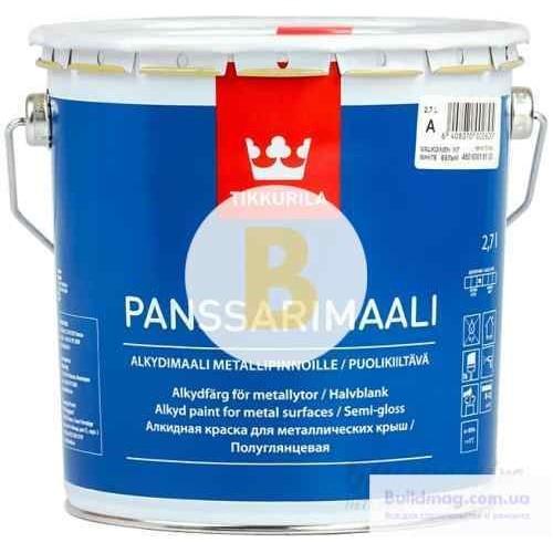 Краска TIKKURILA алкидная Panssarimaali база А белый полуглянец 2,7л