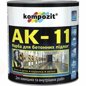 Краска Kompozit для бетонных полов АК-11 серый шелковистый мат 1кг