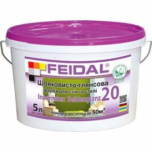 Краска акриловая Feidal Innenlatex Seidenglanz 20 шелковистый глянец белый 1л