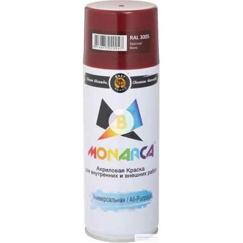Краска аэрозольная универсальная MONARCA RAL 3005 винно-красный глянец 520 мл 270 г