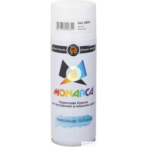 Краска аэрозольная универсальная MONARCA RAL 9003 белый глянец 270 мл 270 г