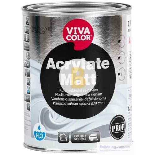 Краска Vivacolor Acrylate Matt, база А белый 0,9л 1,2кг