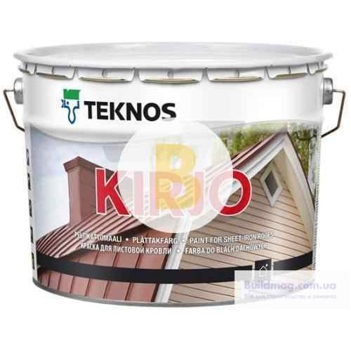 Краска для крыш алкидная TEKNOS KIRJO база 1 для листовой кровли полумат белый 0,9л