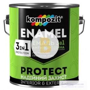Эмаль Kompozit антикоррозионная 3 в 1 PROTECT RAL5010 синий шелковистый мат 0.75кг