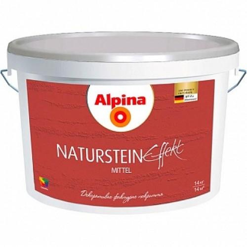 Краска декоративная Effect Naturstein mittel Alpina белый 14кг