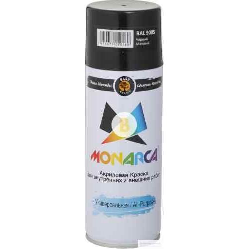 Краска аэрозольная в баллончике MONARCA RAL 9005 чёрный янтарь глянец 520 мл 270 г