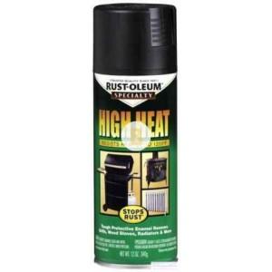 Краска аэрозольная Rust Oleum термостойкая чорний мат 400 мл 500 г