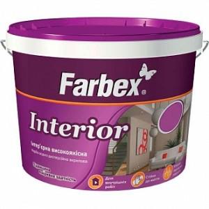 Краска акриловая водоэмульсионная Farbex Interior мат белый 1,4кг