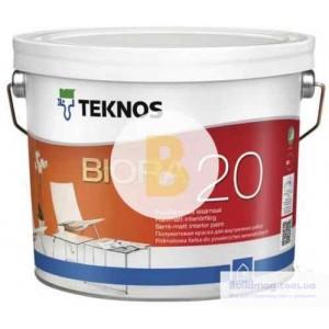 Краска интерьерная акрилатная TEKNOS BIORA 20 база 1 полумат белый 0,9л