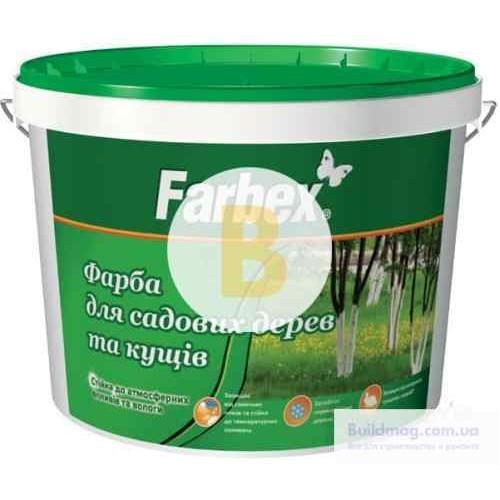 Краска акриловая водоэмульсионная Farbex для садовых деревьев мат белый 4кг