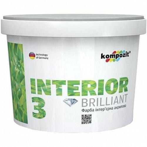 Краска акриловая водоэмульсионная Kompozit INTERIOR 3 глубокий мат белый 2,8л 4,2кг